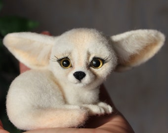 Fennec Fox ***READY TO SHIP***, Fennec Fox felted, fennec fox doll, needle felted animal, needle felt Fennec Fox,