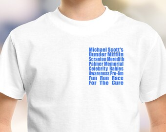 """The Office """"Meredith Rabies Awareness Fun Run"""" Kids and Youth Shirt 2T-XL"""