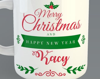 Christmas Custom 11oz Coffe Mug Merry Christmas and Happy New Year