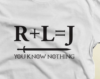 Game of Thrones R+L=J Jon Snow T-Shirt S-4XL And Long Sleeve Available