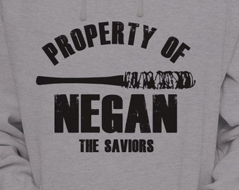 "The Walking Dead ""Property Of Negan"" Negan Lucille Hoodie Sweater S-XL Available TWD Hooded Sweatshirt"