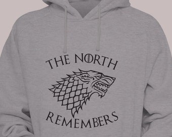 "House Stark ""The North Remembers"" Game of Thrones Hoodie Sweater Hooded Pullover Jon Snow Sansa Arya"