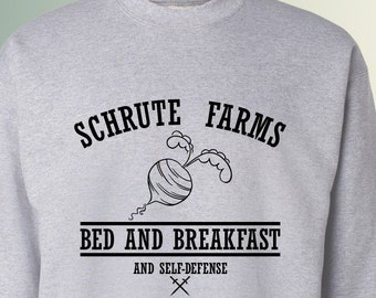 Schrute Farms Bed And Breakfast and self defense Inspired from The Office TV Show Crewneck Sweater Sweatshirts