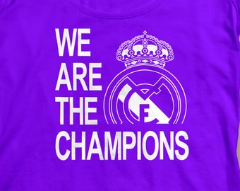 Real Madrid We Are The Champions Womens T-Shirts S-XL  Available Customization Available UEFA Champions League 2017