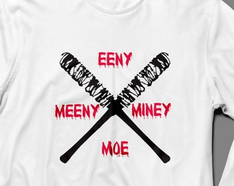 "The Walking Dead ""Eeny Meeny Miney Moe"" NEGAN Long Sleeve Shirt S-4XL Available TWD Lucielle"
