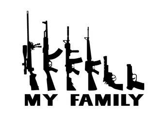 "My Family Gun Stick Figure Family Decal 4""-9"""