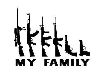 "My Family Gun Stick Figure Family Decal 4""-9"""