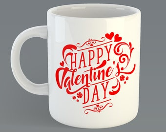 "Valentines Day ""Happy Valentines Day"" Custom Coffee Mug Gift"