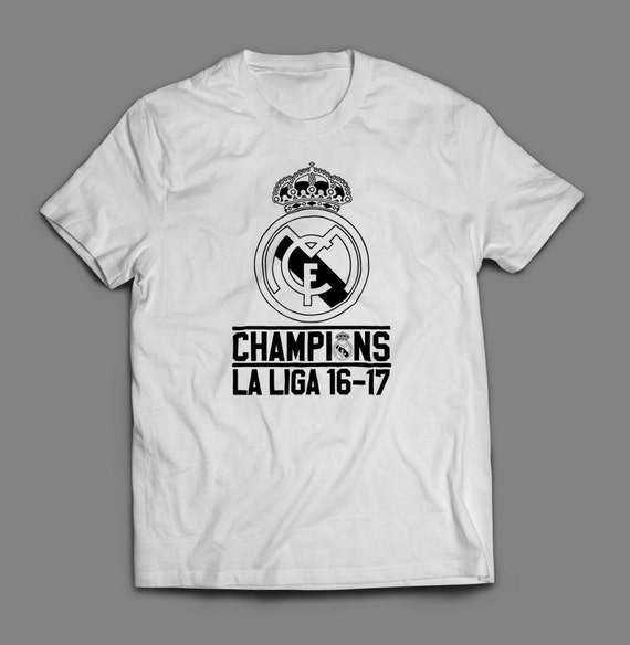 Real Madrid Champions 2017 La Liga Shirt  S-4XL And Long Sleeve Available Customizable  La Liga Satander