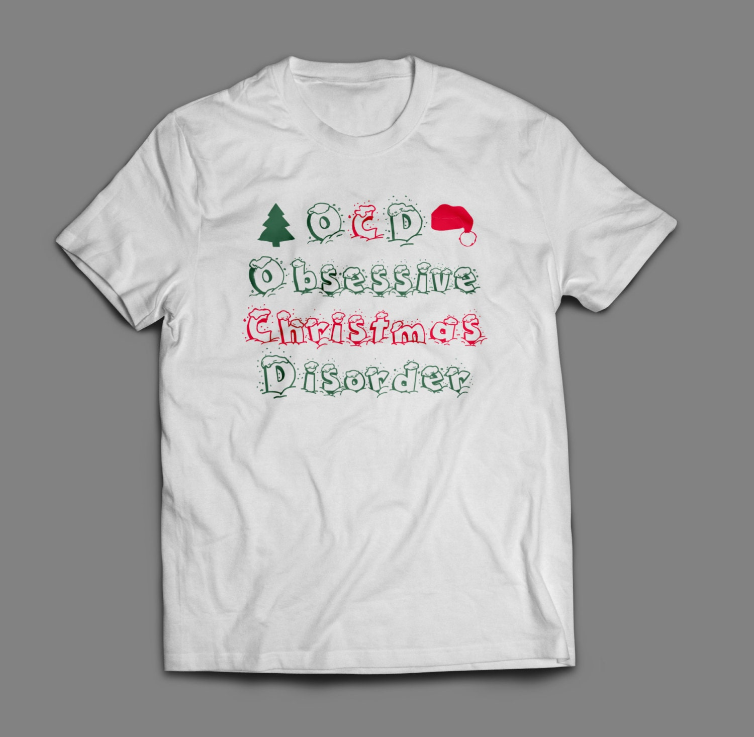 OCD Obsessive Christmas Disorder Shirt S-4XL And Long Sleeve Available