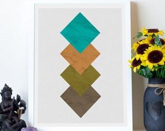 Suburban Geometry Digital Print, Large Diamond Decor, Printable Shape Artwork, Printable Geometric, Scandinavian Shapes, Instant Download