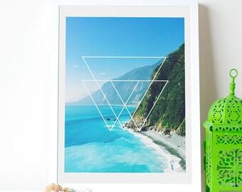 Coastal Digital Print, Coastal Poster, Coastal Scene, Shoreline Digital Poster, Ocean Cliffs Poster, Cool Gift, Interesting Gift, Download
