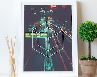 Tokyo City Digital Print, Urban Tokyo Poster, Neon Sign Print, Urban Symbol Decor, Japanese Street Photo, Cool Gift, Simple Gift, Download