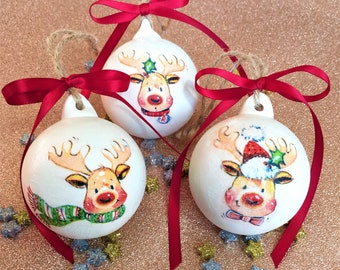 childrens personalised christmas bauble reindeer hanging decoration ceramic name ornament babys first christmas tree decor child favor