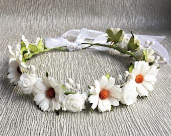 Black White Daisy Flower Print Headband Festival Hair Band Floral Elastic 1567