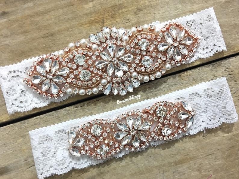 7049b2c4b Pearl gold garter set blush wedding garter stretch garter