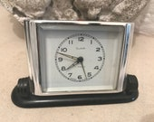 Vintage Slava art deco alarm clock. Collectables Russian clocks manual winding desk top den study home decor 20th century bedroom. 06