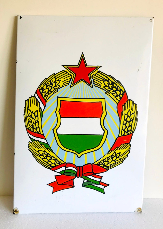 Hungarian enamel wall sign Large Vintage enamel sign of Communist era Collectable signsvintage metal signsHungary historymemoribilia