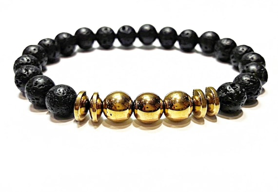 Lava Bead Bracelet Lava Stone Bracelet Men Beads Lava Etsy