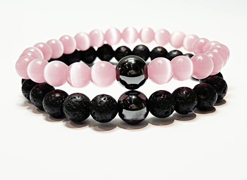 long distance relationship boyfriend gift matching couple bracelets his and  hers beads bracelet boyfriend girlfriend jewelry black pink lava