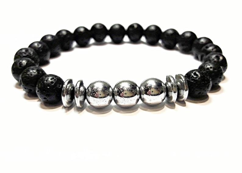 beaded bracelet lava mens bead bracelet lava stone bracelet lava /& hematite bracelet black silver bracelet stretch hand made stone jewelry