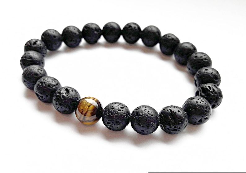 lava beads bracelet men tiger eye bracelet gemstone stretch bracelet hand made lava stone jewelry mens lava bracelet black mens gift for him