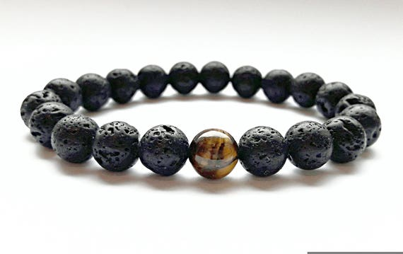 Lava Beads Bracelet Men Tiger Eye Bracelet Gemstone Stretch Etsy