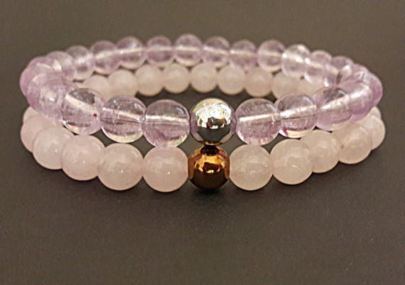 Mommy and Me bracelets Mother and Daughter Jewelry gift Self Gift Mother\u2019s Day gift Matching Bracelets Rose Quartz Self Love