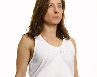 Go Further Unisex Tank Top, Long Cut in White