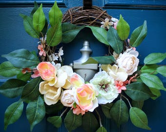 Pink and White Mini Floral Wreath - Peonies, Roses, Magnolias, and more!