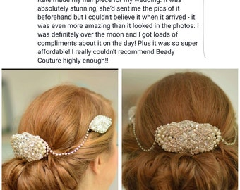 Hair comb / beautiful vintage style tripple  3 comb hairpiece / hair chain / Bridal hairpiece/ hair jewellery /pretty hair comb