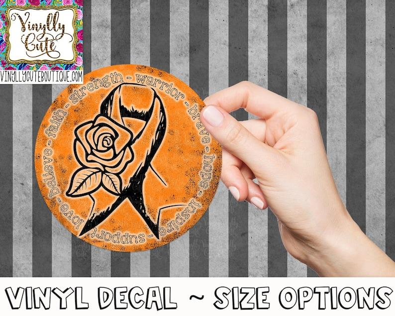 Orange Awareness Ribbon Circle Decal Sticker ~ Various Sizes ~ Laptop Decal ~ Car Decal ~ Tumbler Decal
