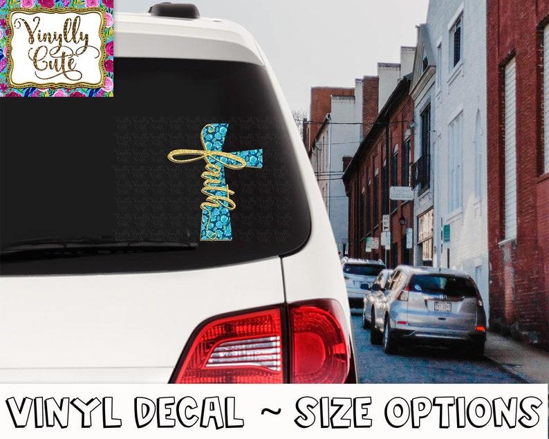 Faith Blue Floral Cross Vinyl Decal Sticker ~ Various Sizes ~ Laptop Decal ~ Car Decal ~ Tumbler Decal