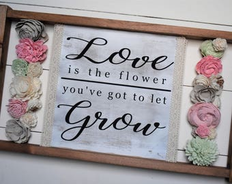 Spring Decor - Flower Sign - Love Sign - Love Grows Best - Spring Decor - Spring Sign - Farmhouse Decor - Rustic Sign - Gift for Her