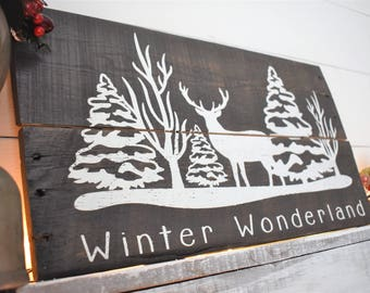 Reclaimed Wood Christmas Sign  - Winter Wonderland - Winter Sign - Winter Decor -  Reindeer Decor - Rustic Christmas