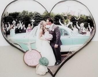 Perzonalized Wood Heart Photo Sign - Wedding Momento - Newborn Momento - Wedding Photo - Newborn Momento - Wedding Keepsake