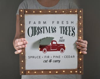 READY TO SHIP Lighted Christmas Sign - Christmas Tree Truck - Christmas Truck Sign - Farmhouse Christmas Decor - Rustic Decor - Lighted Sign