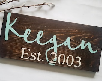 Wedding Gift - Last Name Sign - Custom Name Sign - Engagement Gift - Anniversary Gift - Rustic Decor - Established Sign - Bridal Shower Gift