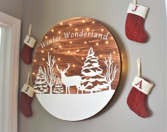 Lighted Christmas Sign - Farmhouse Christmas - Christmas Lights - Lighted Sign - Reindeer Sign - Winter Wonderland