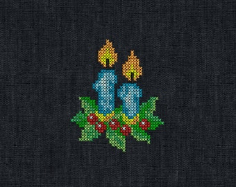 Christmas Candles Cross Stitch - machine embroidery design for instant download