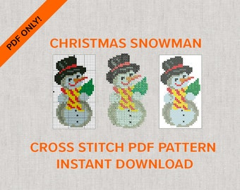 Christmas Snowman Cross Stitch PDF only for instant download