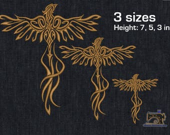 Phoenix bird - Bird of wonder - The secular bird - Machine embroidery design 3 sizes for instant download