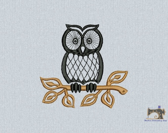 Owl embroidery design, Owl bird Machine embroidery design 2 sizes for instant download