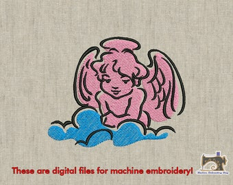Angel embroidery design 2 sizes for instant download