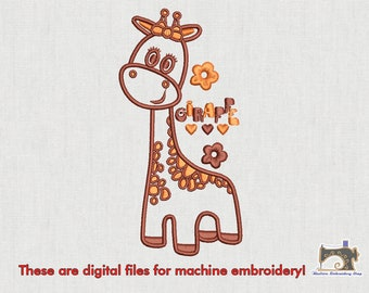 Giraffe embroidery design for instant download