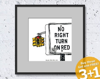 NEW YORK SKETCH #02, Hoboken, New Jersey, No Right Turn On Red, Prohibited Sign, Instant Download, Ready for Printing, Home Decor, Wall Art