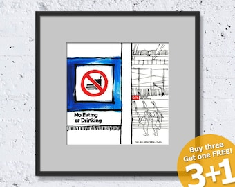 NEW YORK SKETCH #05, Subway Ground Zero, No Eating or Drinking, Prohibited Sign, Instant Download, Ready for Printing, Home Decor Wall Art