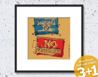 NEW YORK SKETCH #01, No Smoking, Prohibited Sign, Pub Interior, Instant Download, Ready for Printing, Home and Office Decor, Wall Artwork