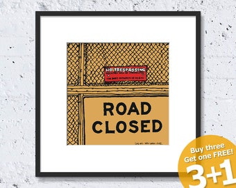 NEW YORK SKETCH #08, Road Closed @ Ground Zero, Prohibited Sign, Instant Download, Ready for Printing, Home Decor, Wall Art, Resizable