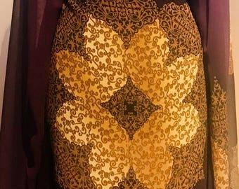 Purple and gold Chiffon, Paisley Chiffon fabric, Designer print, wedding dress fabric sold by the yard